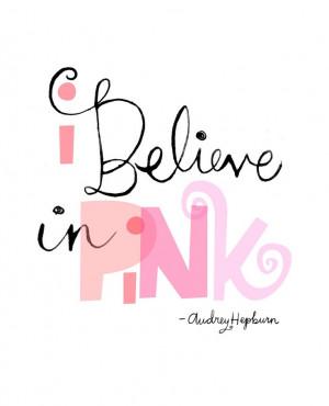 Believe in Pink wall art Print. $22.00, via Etsy.