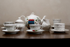 Jane Austen Tea Set - Hand painted, white teapot with vintage cups and ...
