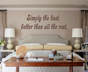 ... brown Simply The Best (Tina Turner) Lyric wall decal above a headboard