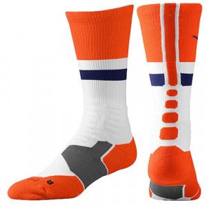 nike hyperelite fanatical basketball socks white team orange photo