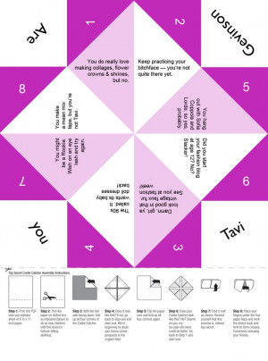 Are you Tavi Gevinson? Free printable cootie catcher for tween and ...