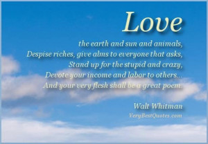 Walt whitman quotes love the earth