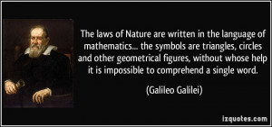 of Nature are written in the language of mathematics... the symbols ...
