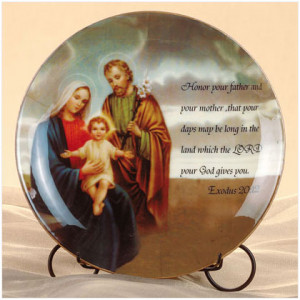 Holy Family and quotes Exodus 20:12.Porcelain on metal stand. 9 .