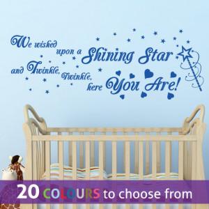 SHINING STAR quote TWINKLE twinkle little star wall sticker art decal ...