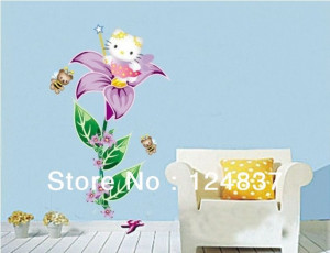 Hot-Hello-Kitty-Bedroom-Flower-Fairy-Decoration-Wall-Stickers-Cute ...