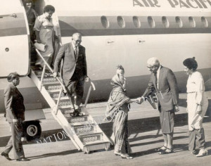 AGO Indira Gandhi is greeted by Prime Minister Ratu Sir Kamisese Mara