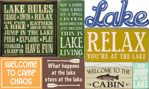 Lake and Camping Wood Signs