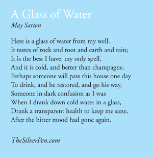 ... inspiring poem (at least I think it is inspiring), Glass of Water