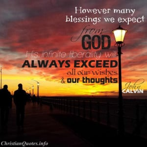 John Calvin Quote Blessings from God sunset and people walking on