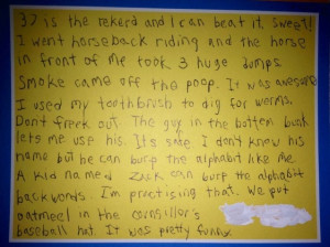 In response to what is truly the most epic summer camp letter of all ...