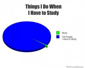 Things I do when I have to study graph – study – tell people I ...