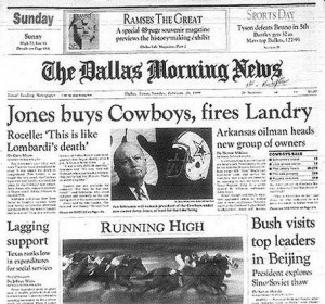 ... TEAM DIED Part I. March 6, 1989, Jerry Jones fires Tom Landry