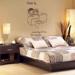 Chocolate Love Is Quote 4 decal on the wall over a bed