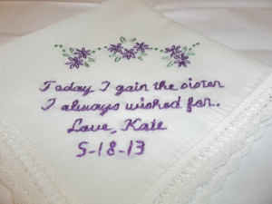 Sister in law wedding handkerchief, sister i wished for, hand ...