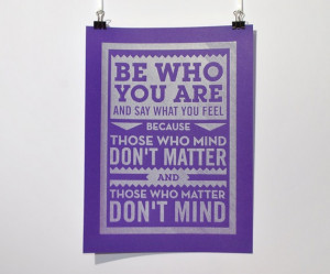 Be Who You Are - Dr Seuss Quote - Pen drawn poster by Chatty Nora £10 ...