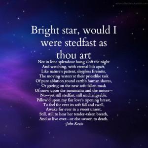 John Keats Poem Bright Star Keats struggles to cope with