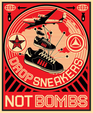 Shepard Fairey Drop Sneakers Not Bombs Logo