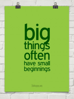Big things often have small beginnings #27030