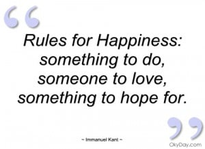 rules for happiness immanuel kant
