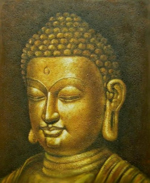 Gold Face Buddha, Big Ear and Closed Eyes, Buddha art oil paintings