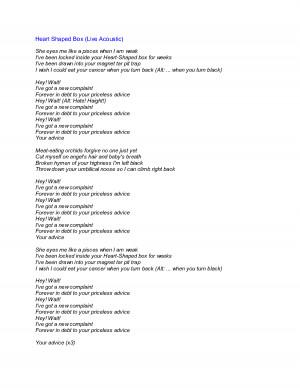 nirvana lyrics heart shaped box