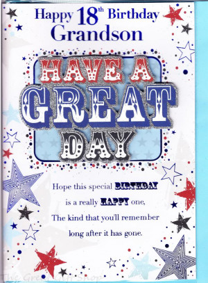 happy 18th birthday grandson large sized birthday card featuring have
