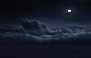 Moon, night, clouds, blue, navy, dark, sky, sea of clouds, dreamy ...