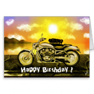Motorcycle Birthday Card Greeting Card