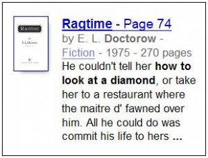 From 'Ragtime'-- 'He couldn't tell her how to look at a diamond....'