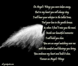 On Angels Wings You Were Taken Away, In loving memory cards ...