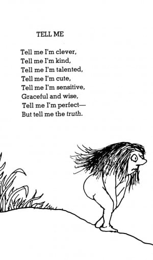 poetry poem shel silverstein you're perfect tell me I just sat on ...