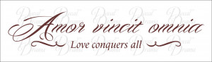 ... Omnia, LOVE Conquers All, Latin Romantic quote with embellishments