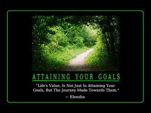 Life's Value, Is Not Just In Attaining Your Goals, But The Journey ...