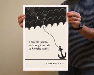 Book Quote Edgar Allan Poe Poster Illustration by Evan Robertson