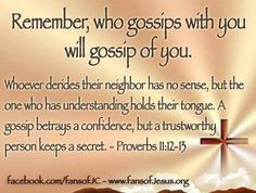 Remember, who gossips with you will gossip about you. More
