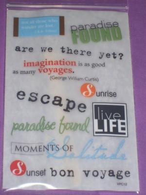 Vacation Sayings (scrapbook rub ons)