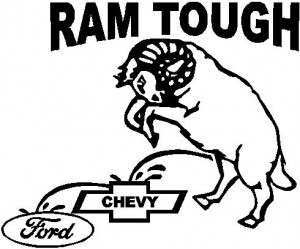 Dodge, Ram Tough, A Ram peeing on Chevy and Ford, Vinyl cut decal