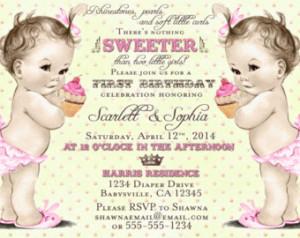 Twin Girls First Birthday Invitatio n - 1st Birthday Twins - We ...