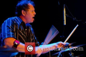 pat mastelotto of stick men performing on drums live at music box