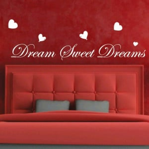 Dream Sweet Dreams Love Heart Art Bedroom Wall Quote Stickers Wall ...