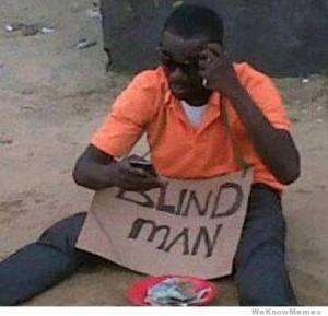 blind homeless man on phone fail