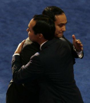 San Antonio Mayor Julian Castro, left, hugs his brother Joaquin Castro ...