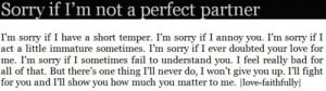 Sorry If I'm Not a Perfect Partner ~ Apology Quote