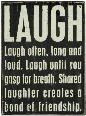 Laugh Black Wood Box Sign/Plaque (8x6)