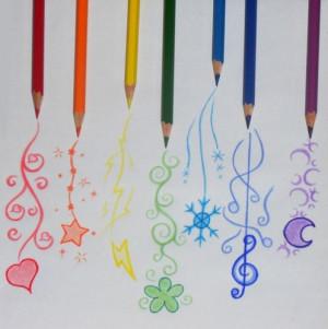 art, colored pencils, cute, drawing, pencils, rainbow
