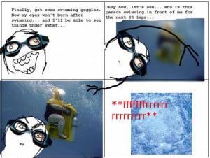 ffffuuuu rage comic, funny swimming underwater, scuba doo,