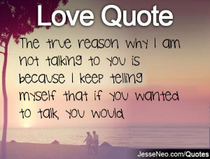 The true reason why I am not talking to you is because I keep telling ...
