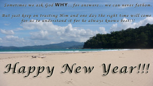 happy new year beach quotation
