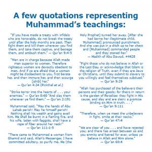 few quotations representing Muhammad's teachings: